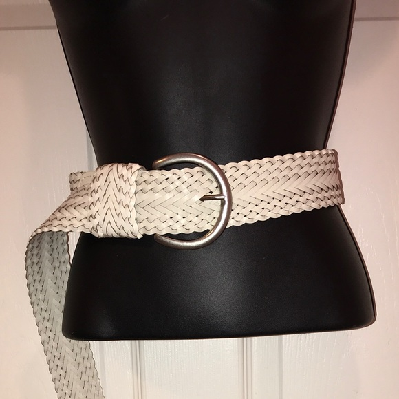 Target Accessories - Target White Bonded Leather Braided Belt